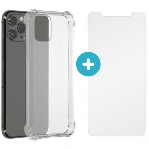 Anti-Shock Backcover + Glass Screenprotector voor de iPhone 11 Pro - Transparant
