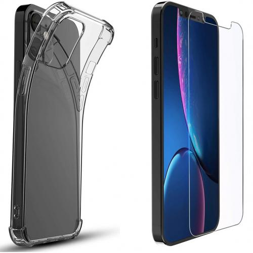 Anti-Shock Backcover + Glass Screenprotector voor de iPhone 12 (Pro) - Transparant