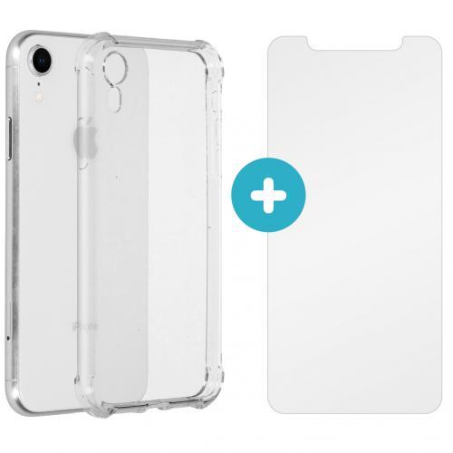 Anti-Shock Backcover + Glass Screenprotector voor de iPhone Xr - Transparant