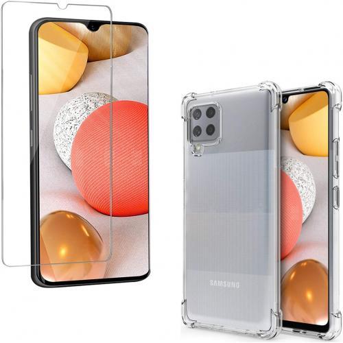 Anti-Shock Backcover + Glass Screenprotector voor de Samsung Galaxy A42 - Transparant