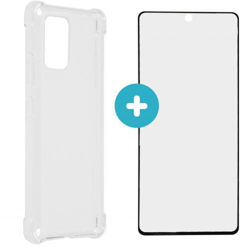 Anti-Shock Backcover + Premium Glass Screenprotector Galaxy S10 Lite - Transparant