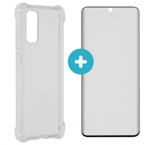 Anti-Shock Backcover + Premium Glass Screenprotector voor Galaxy S20 - Transparant