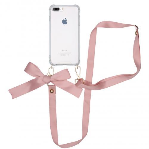 Backcover met koord - Satijn voor de iPhone 8 Plus / 7 Plus - Rosé Goud
