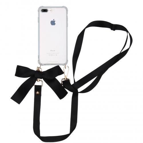 Backcover met koord - Satijn voor de iPhone 8 Plus / 7 Plus - Zwart