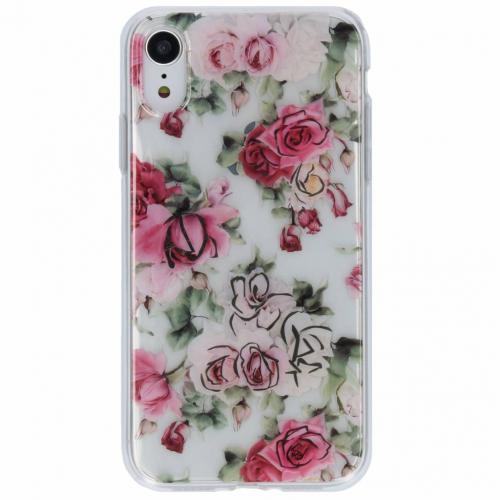 Bloemen metallic design siliconen hoesje voor de iPhone Xr