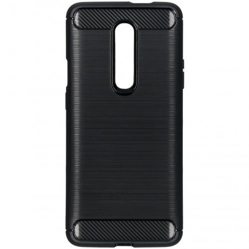 Brushed Backcover voor de OnePlus 7 Pro - Zwart