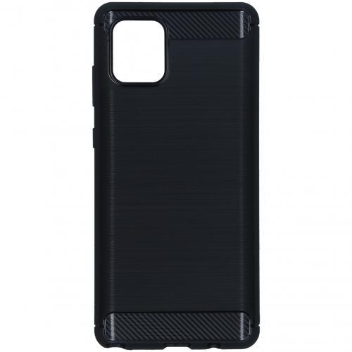 Brushed Backcover voor de Samsung Galaxy Note 10 Lite - Zwart