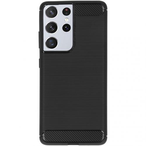 Brushed Backcover voor de Samsung Galaxy S21 Ultra - Zwart