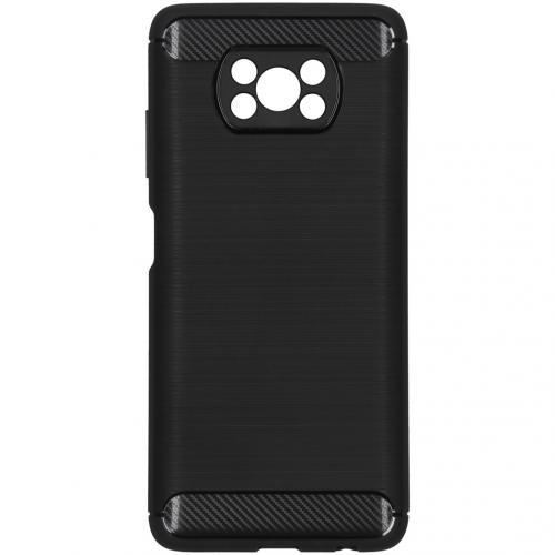 Brushed Backcover voor de Xiaomi Poco X3 - Zwart