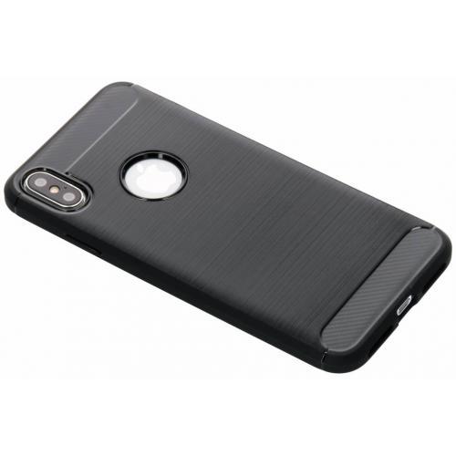 Brushed Backcover voor iPhone Xs Max - Zwart