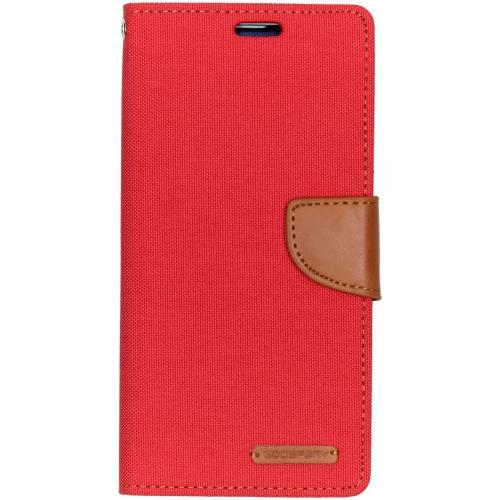 Canvas Diary Booktype voor de Samsung Galaxy S10 Plus - Rood