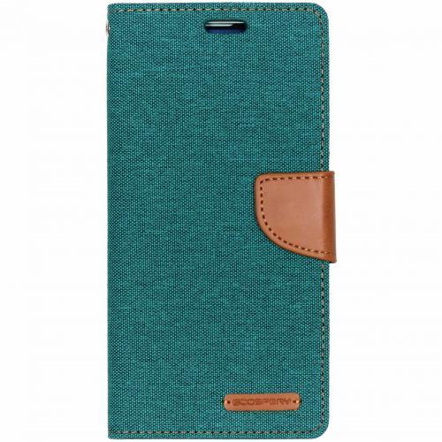 Canvas Diary Booktype voor Samsung Galaxy S10 Plus - Groen
