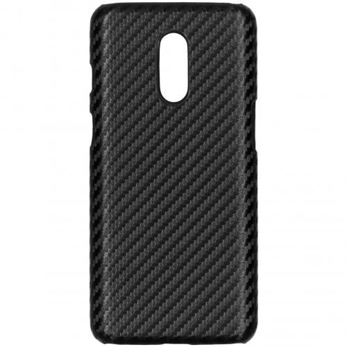Carbon Hardcase Backcover voor de OnePlus 7 - Zwart