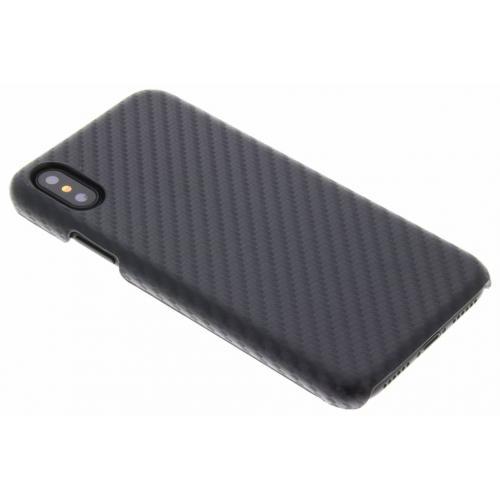 Carbon Hardcase Backcover voor iPhone X / Xs - Zwart