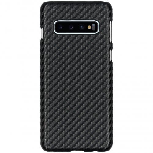 Carbon Hardcase Backcover voor Samsung Galaxy S10 - Zwart