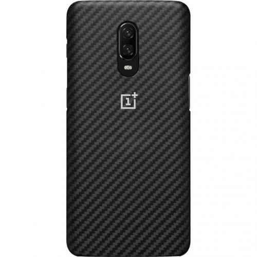 Carbon Protective Backcover voor de OnePlus 6T - Zwart