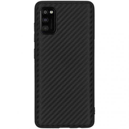 Carbon Softcase Backcover voor de Samsung Galaxy A41 - Zwart