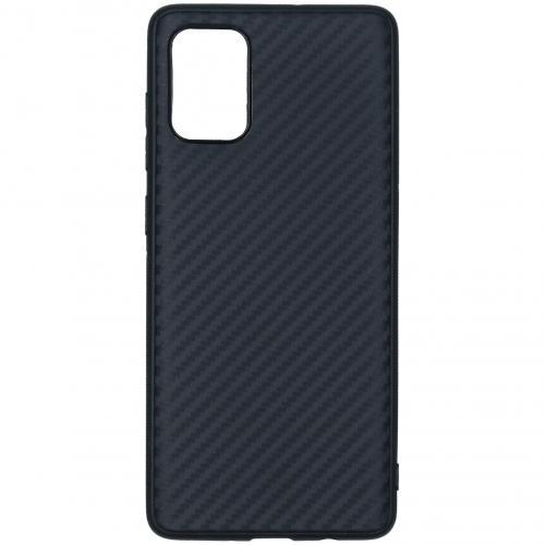Carbon Softcase Backcover voor de Samsung Galaxy A71 - Zwart