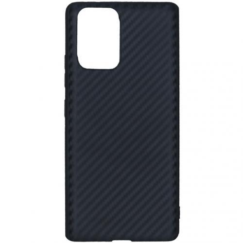 Carbon Softcase Backcover voor de Samsung Galaxy S10 Lite - Zwart