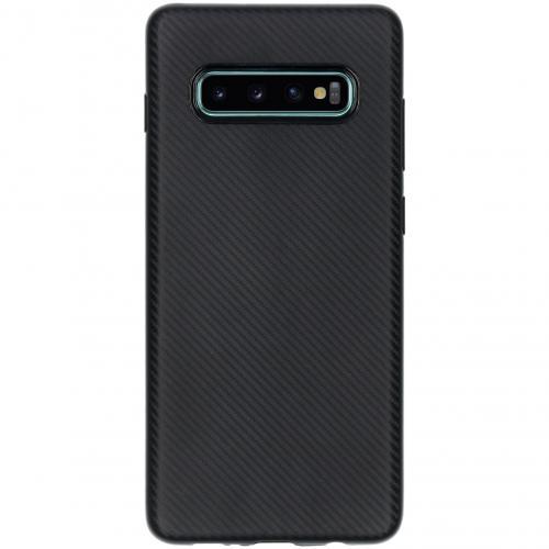 Carbon Softcase Backcover voor de Samsung Galaxy S10 Plus - Zwart