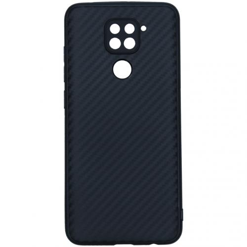 Carbon Softcase Backcover voor de Xiaomi Redmi Note 9 - Zwart
