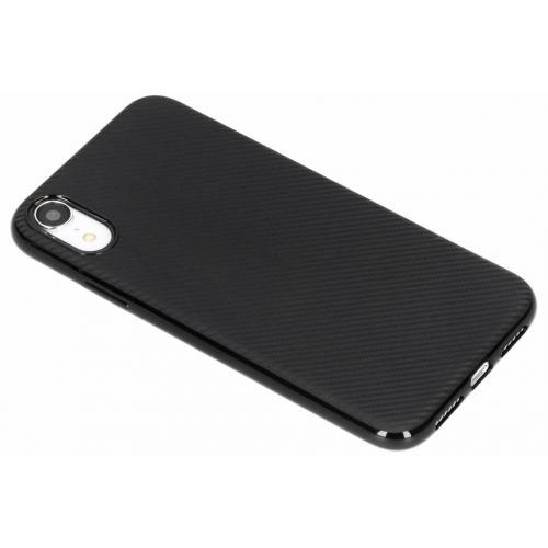 Carbon Softcase Backcover voor iPhone Xr - Zwart
