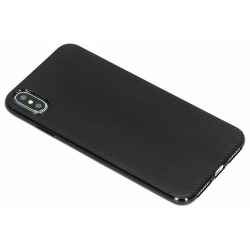 Carbon Softcase Backcover voor iPhone Xs Max - Zwart