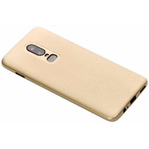 Carbon Softcase Backcover voor OnePlus 6 - Goud