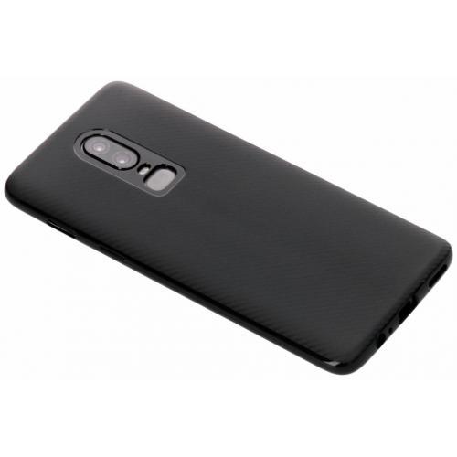 Carbon Softcase Backcover voor OnePlus 6 - Zwart