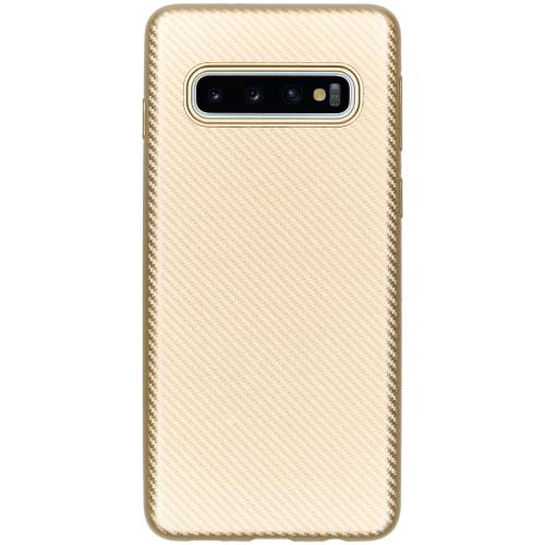Carbon Softcase Backcover voor Samsung Galaxy S10 - Goud