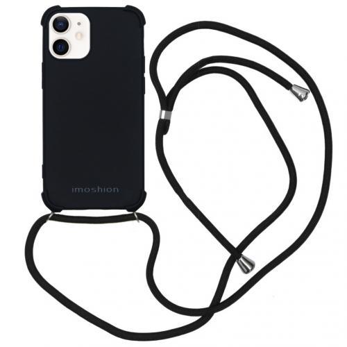 Color Backcover met koord voor de iPhone 12 Mini - Zwart