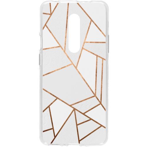 Design Backcover voor de OnePlus 7 Pro - Grafisch Wit / Koper
