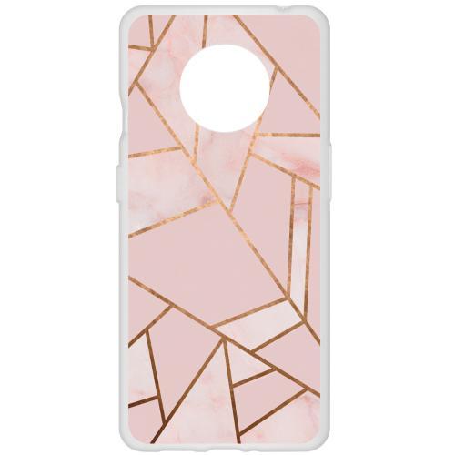 Design Backcover voor de OnePlus 7T - Grafisch Roze / Koper
