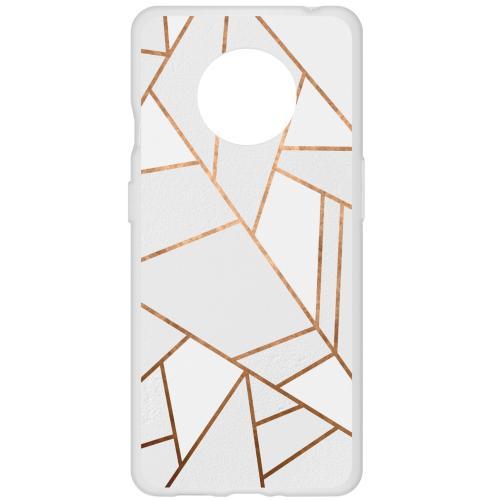 Design Backcover voor de OnePlus 7T - Grafisch Wit / Koper