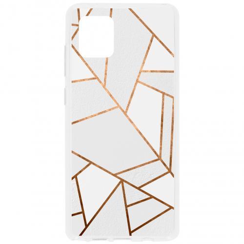 Design Backcover voor de Samsung Galaxy Note 10 Lite - Grafisch Wit / Koper