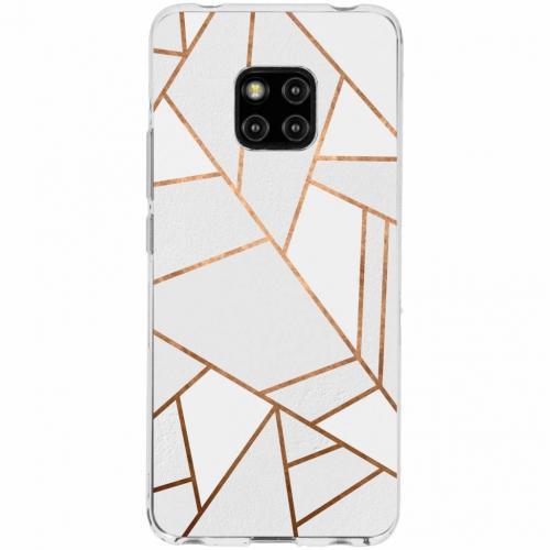 Design Backcover voor Huawei Mate 20 Pro - Grafisch Wit / Koper
