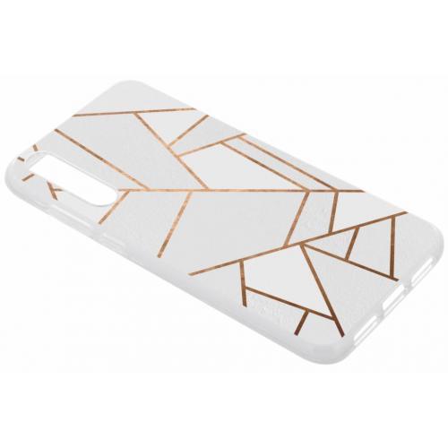 Design Backcover voor Huawei P20 Pro - Grafisch Wit / Koper