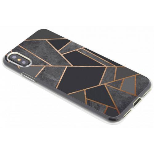 Design Backcover voor iPhone X / Xs - Grafisch Zwart / Koper