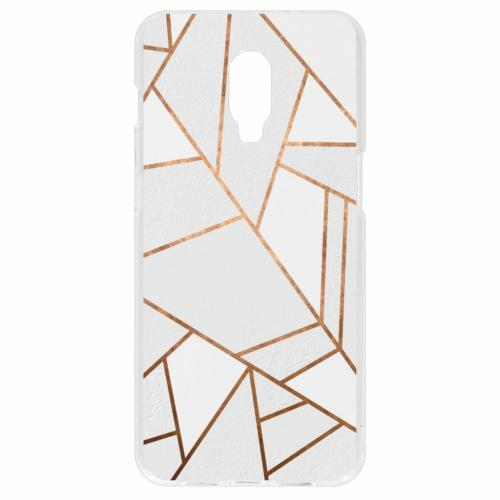 Design Backcover voor OnePlus 6T - Grafisch Wit / Koper