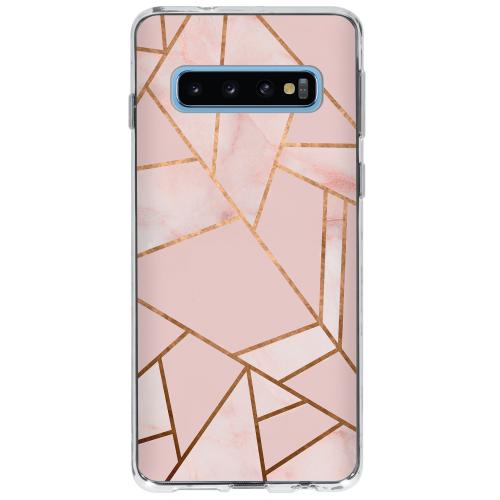 Design Backcover voor Samsung Galaxy S10 - Grafisch Roze / Koper