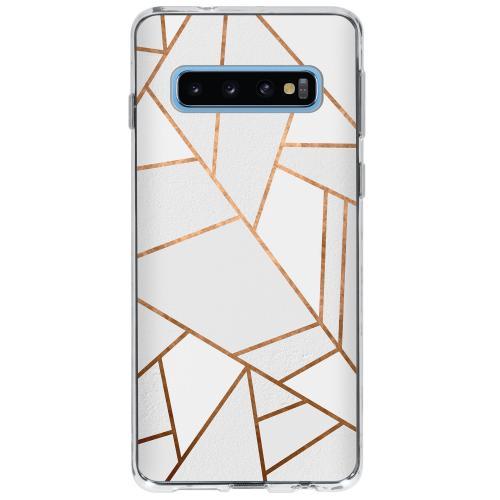 Design Backcover voor Samsung Galaxy S10 - Grafisch Wit / Koper