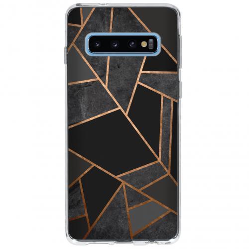 Design Backcover voor Samsung Galaxy S10 - Grafisch Zwart / Koper
