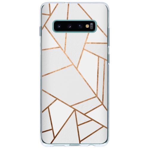 Design Backcover voor Samsung Galaxy S10 Plus - Grafisch Wit / Koper