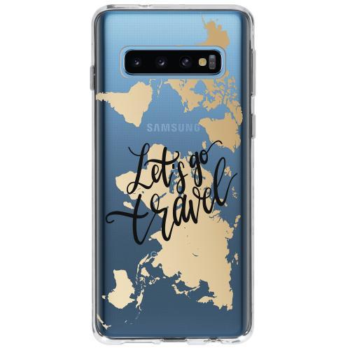 Design Backcover voor Samsung Galaxy S10 - Quote Wereldkaart