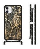 Design hoesje met koord voor de iPhone 11 - Bladeren - Goud / Zwart