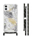 Design hoesje met koord voor de iPhone 11 - Bladeren - Zwart / Goud