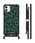 Design hoesje met koord voor de iPhone 11 - Luipaard - Groen / Zwart