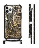 Design hoesje met koord voor de iPhone 11 Pro - Bladeren - Goud / Zwart