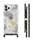 Design hoesje met koord voor de iPhone 11 Pro - Bladeren - Zwart / Goud