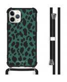 Design hoesje met koord voor de iPhone 11 Pro - Luipaard - Groen / Zwart